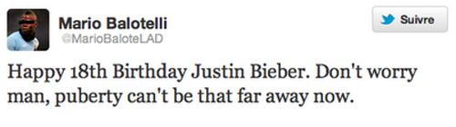 Mario Balotelli souhaite le joyeux anniversaire à Justin Bieber