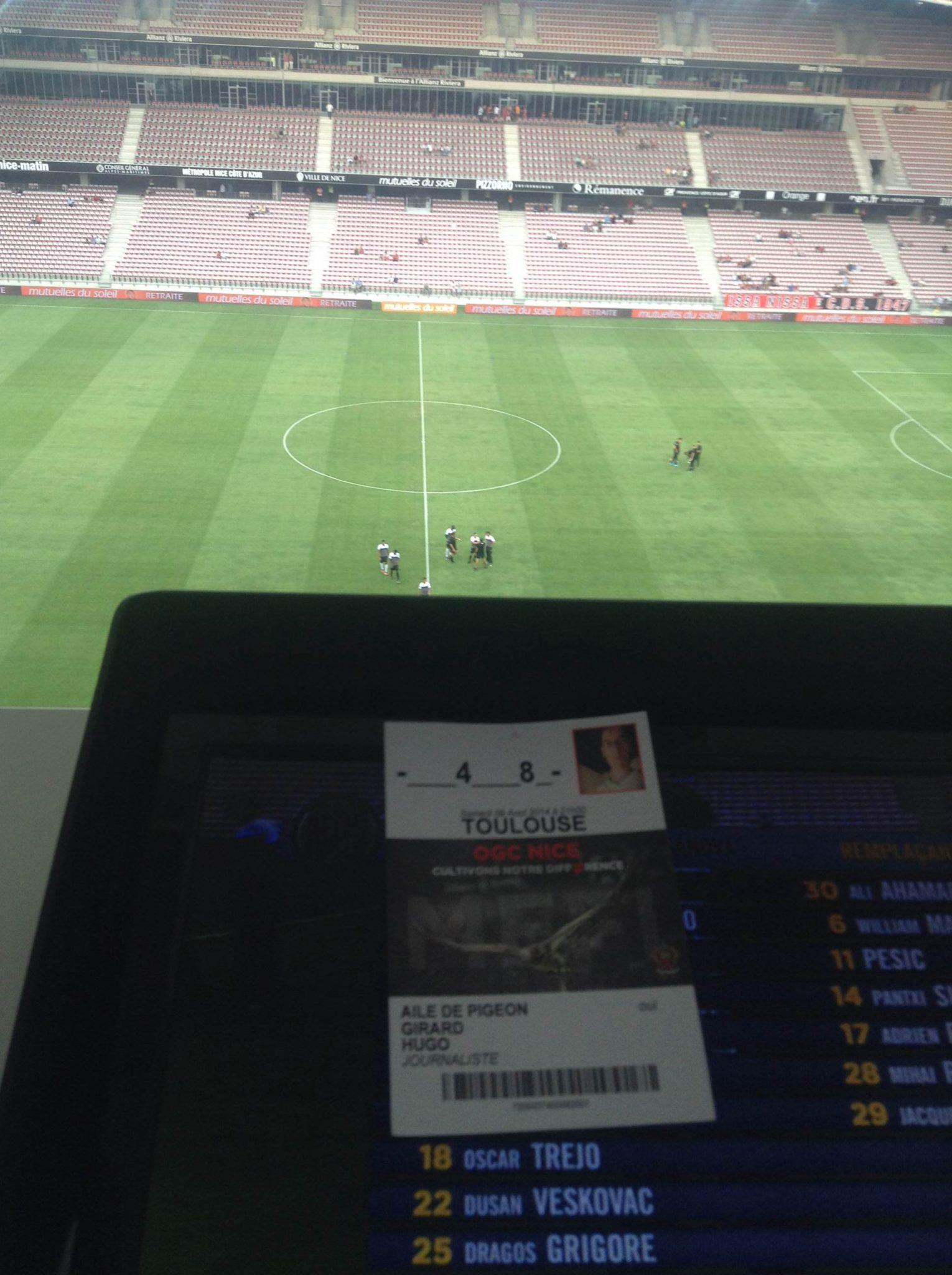 J'ai assisté à OGC Nice - Toulouse FC en tribune de presse