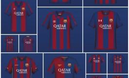 20 versions du maillot du FC Barcelone, par 20 équipementiers