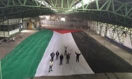 Un drapeau géant de la Palestine en Copa Sudamericana