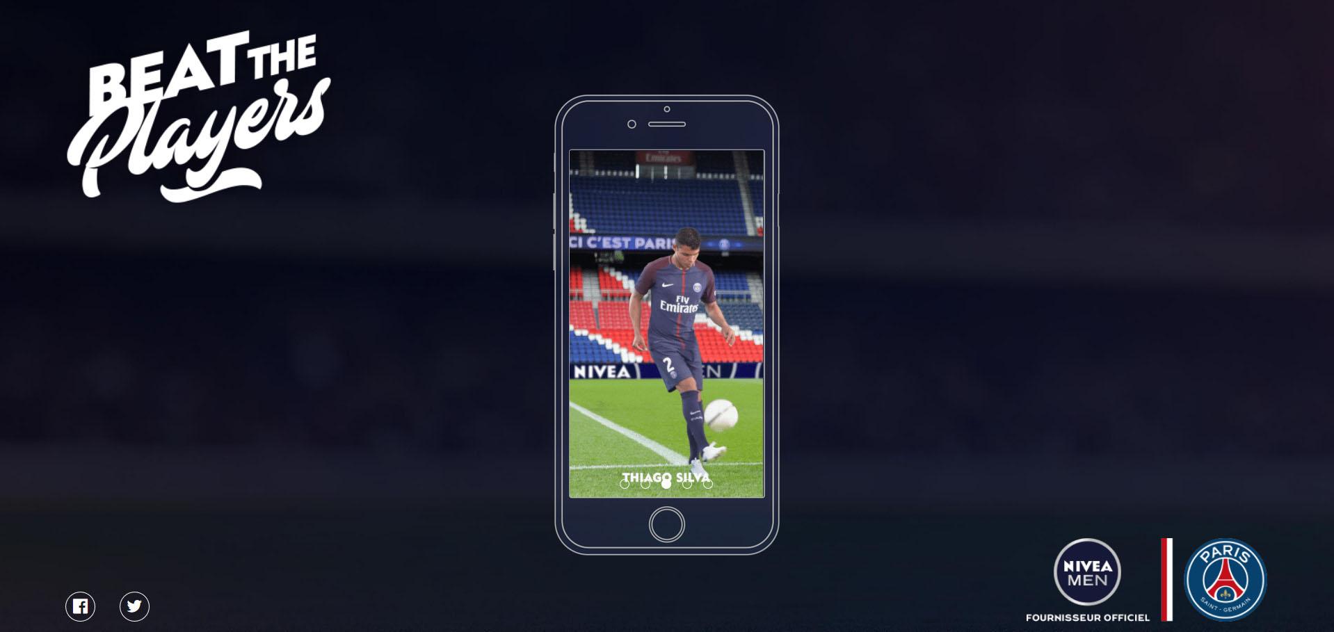 Nivea Men invite à défier les joueurs du PSG via un advergame #BeatThePlayers