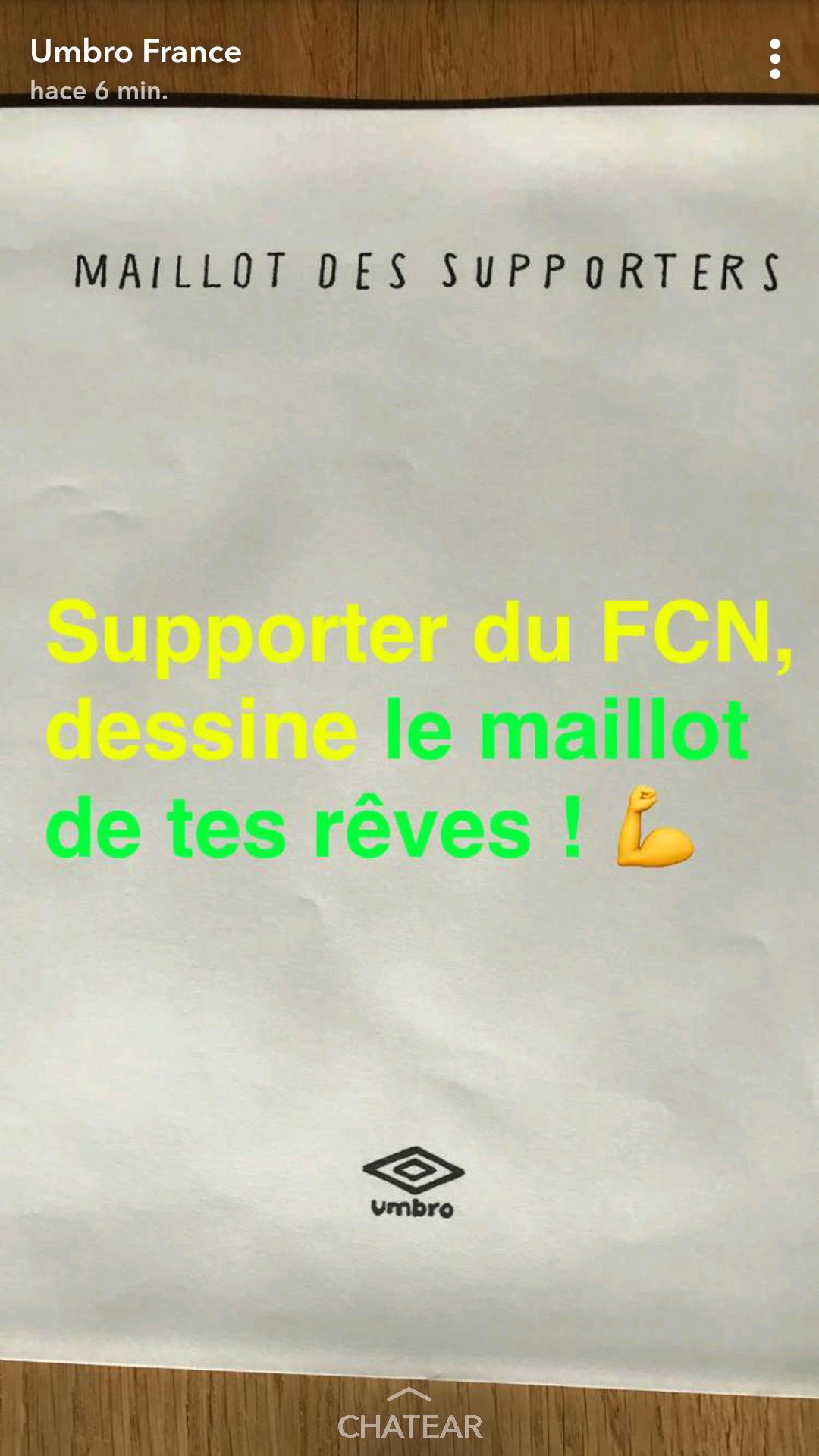 Umbro invite les fans du FC Nantes à dessiner le maillot de leurs rêves sur Snapchat