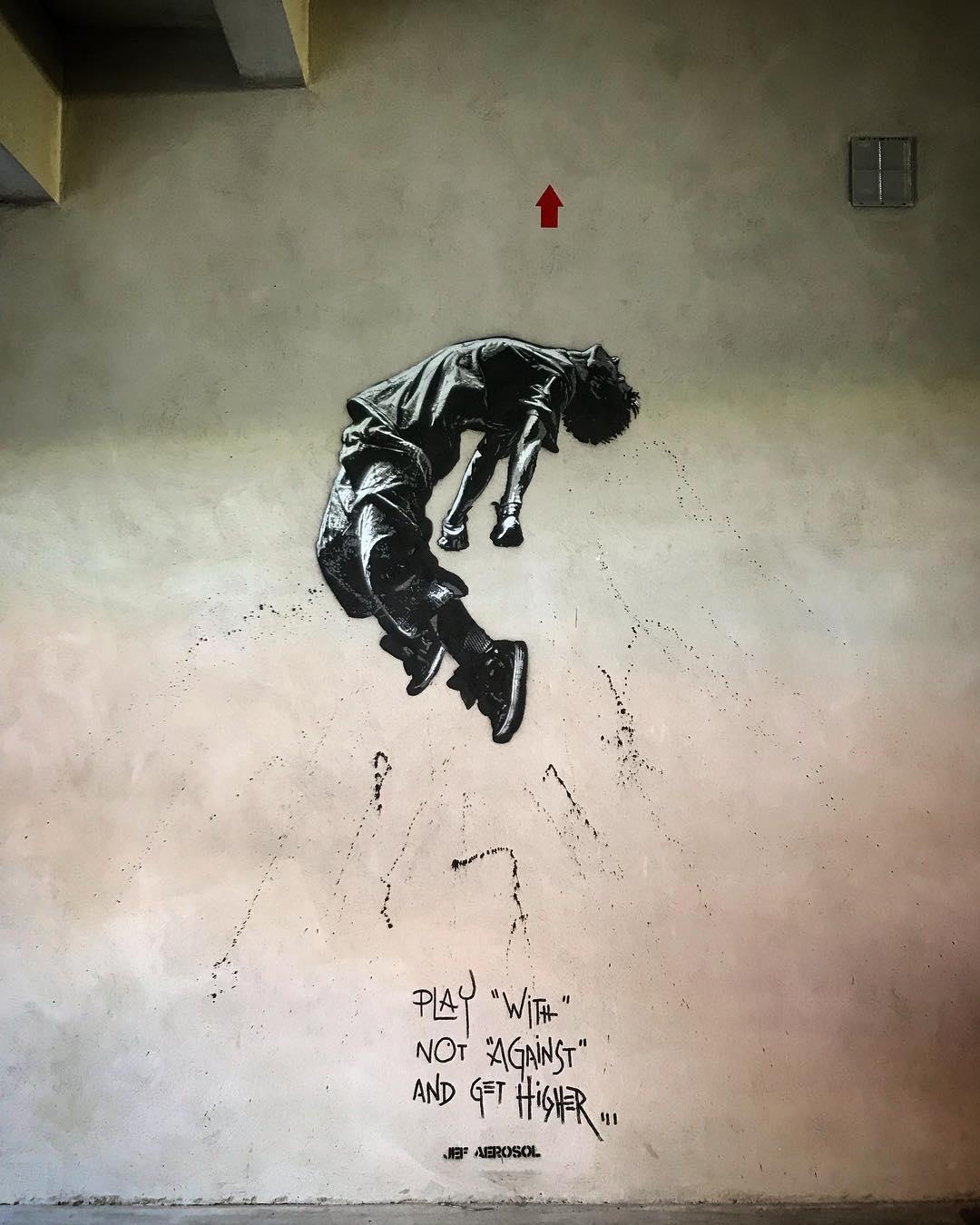 Jef Aerosol graffe le Parc OL