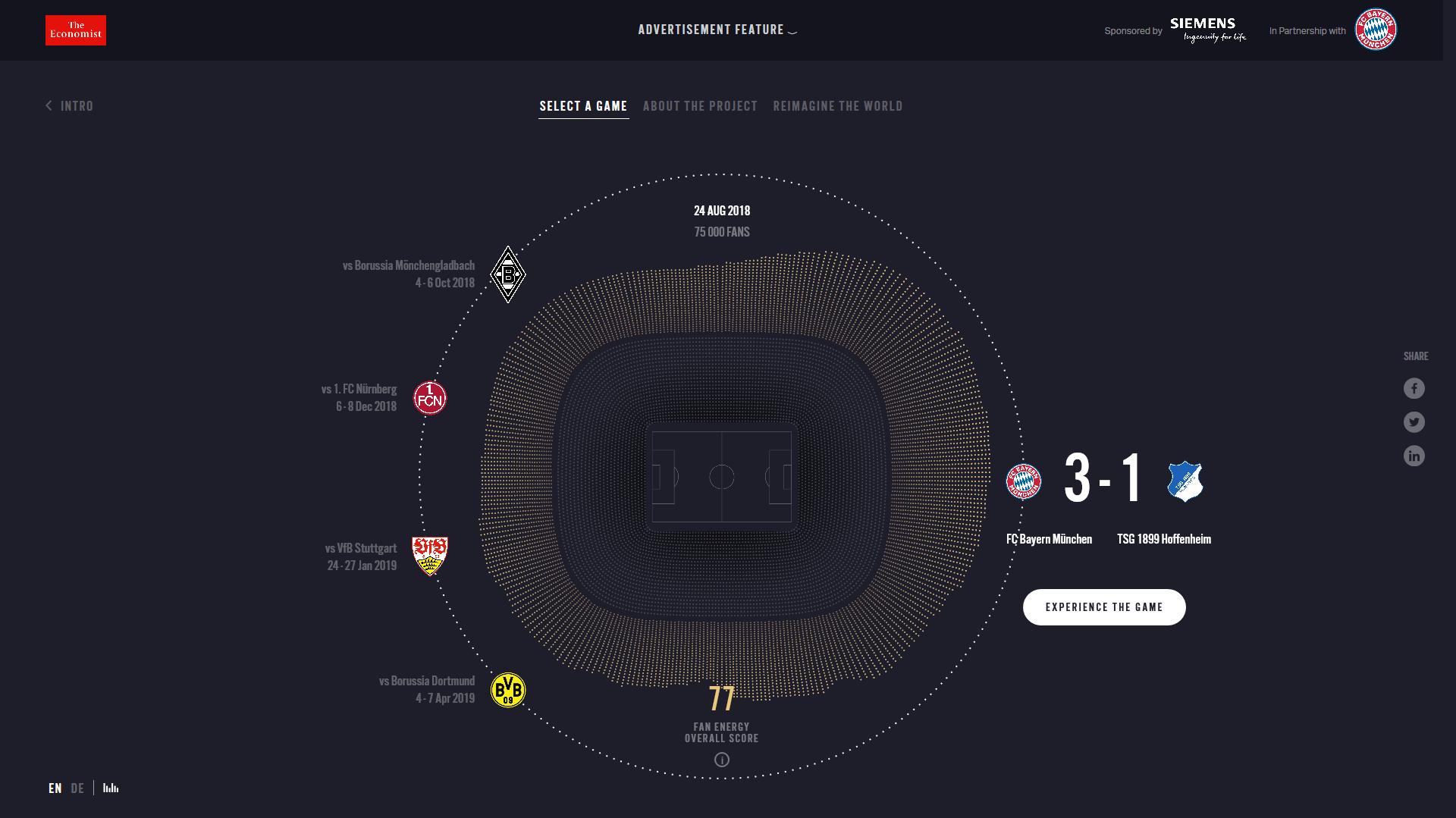 L'énergie des fans du Bayern matérialisée dans une cartographie sonore en 3D